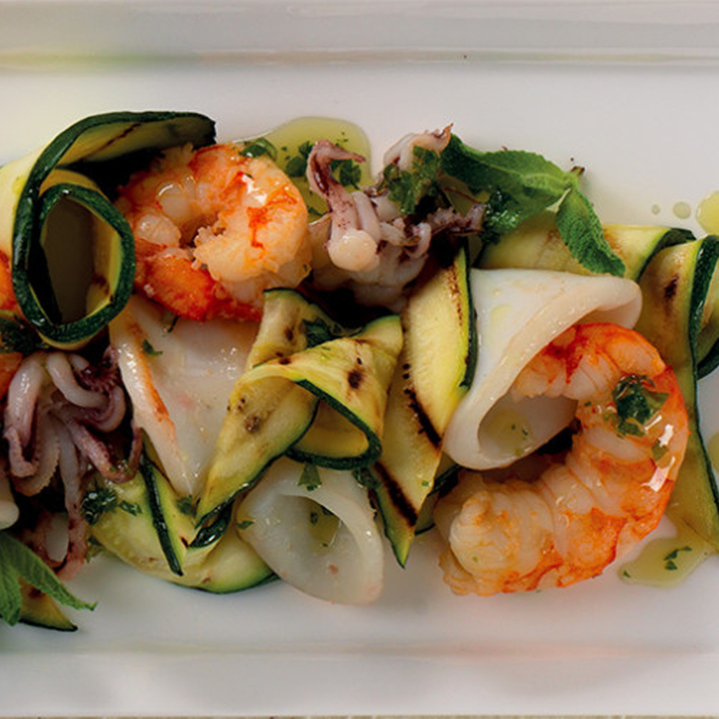 SQUID AND PRAWN WITH ZUCCHINI
